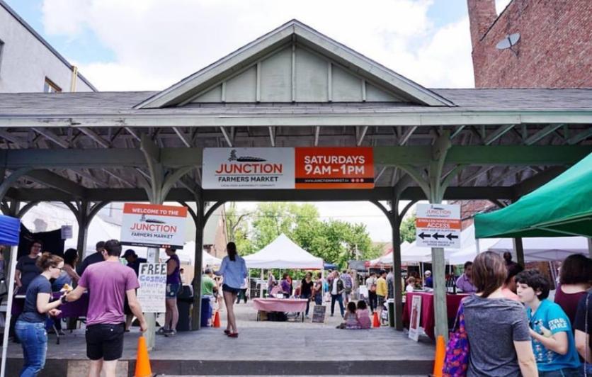 Junction Farmers Market train platform during a market day