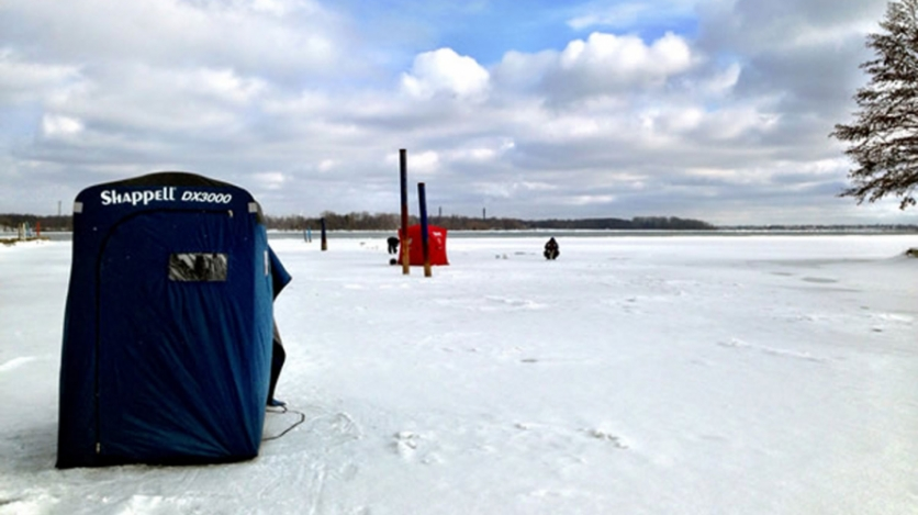 Ice fishing at Fort Erie, Winter 2014