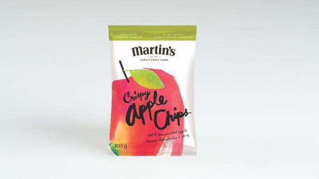 a bag a Crispy Apple Chips from Martin's Family Fruit Farm